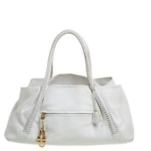 Salvatore Ferragamo White Leather Front Pocket Satchel