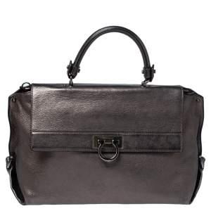 Salvatore Ferragamo Metallic Leather Sofia Top Handle Bag