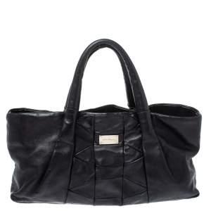 Salvatore Ferragamo Black Pleated Leather Zip Tote