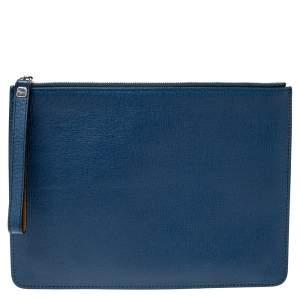 Salvatore Ferragamo Blue Leather Wristlet Zip Clutch