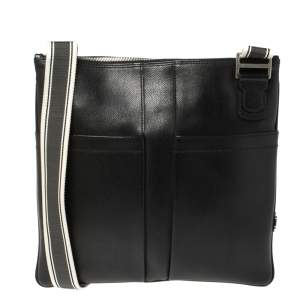 Salvatore Ferragamo Black Leather Messenger Bag