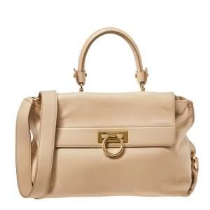 Salvatore Ferragamo Beige Leather Medium Sofia Top Handle Bag