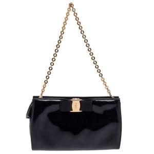 Salvatore Ferragamo Black Patent Leather Vara Piuma Chain Clutch