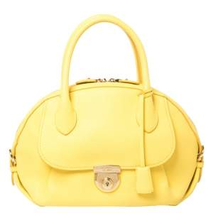 Salvatore Ferragamo Yellow Leather Medium Fiamma Satchel