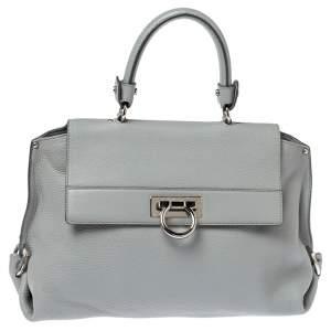 Salvatore Ferragamo Grey Leather Sofia Top Handle Bag