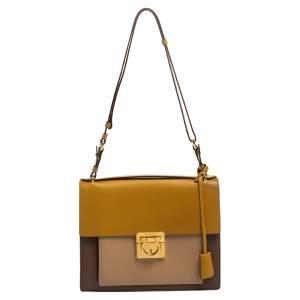 Salvatore Ferragamo Tri Color Leather Marisol Top Handle Bag