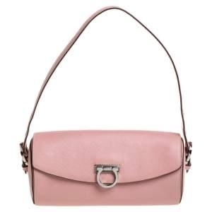 Salvatore Ferragamo Pink Leather Gancini Baguette