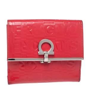 Salvatore Ferragamo Pink Monogram Embossed Patent Leather Gancini Triifold Wallet