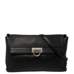 Salvatore Ferragamo Black Leather Signature Lock Shoulder Bag