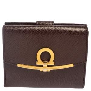 Salvatore Ferragamo Burgundy Grained Leather Gancini Clip Compact Wallet