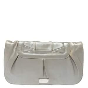 Salvatore Ferragamo Grey Pleated Leather Oversized Clutch