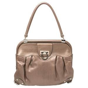 Salvatore Ferragamo Metallic Brown Leather Frame Satchel