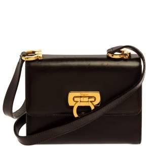 Salvatore Ferragamo Dark Brown Leather Gancini Flap Crossbody