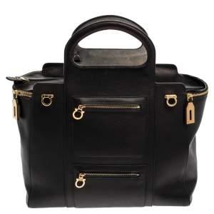 Salvatore Ferragamo Black Leather Leather Verve Tote Bag