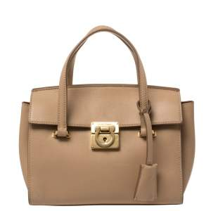 Salvatore Ferragamo Beige Leather Mara Satchel