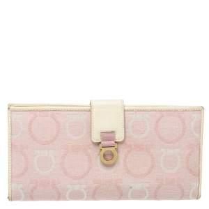 Salvatore Ferragamo Pink/Cream Gancini Canvas and Leather Wallet