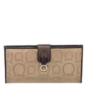 Salvatore Ferragamo Beige/Brown Gancini Canvas and Leather Wallet