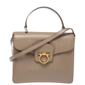 Salvatore Ferragamo Beige Leather Katia Top Handle Bag