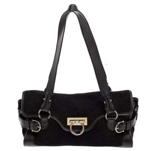 Salvatore Ferragamo Black Monogram Velvet and Leather Satchel