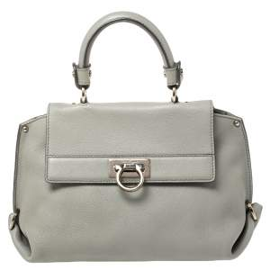 Salvatore Ferragamo Grey Leather Small Sofia Top Handle Bag
