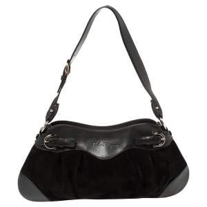 Salvatore Ferragamo Black Leather and Suede Marisa Baguette Shoulder Bag