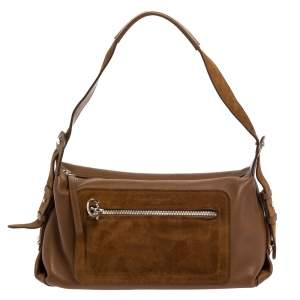 Salvatore Ferragamo Brown Leather and Suede Shoulder Bag