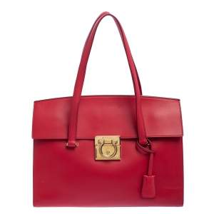 Salvatore Ferragamo Red Leather Large Mara Satchel