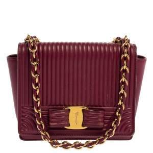 Salvatore Ferragamo Burgundy Quilted Leather Mini Vara Bow Crossbody Bag
