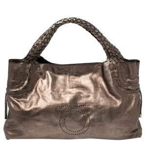 Salvatore Ferragamo Metallic Bronze Leather Perforated Logo Tote