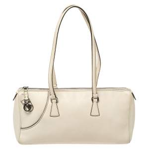 Salvatore Ferragamo Cream Leather Gancio Zip Satchel