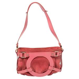 Salvatore Ferragamo Pink Suede And Leather Shoulder Bag