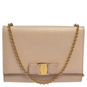 Salvatore Ferragamo Powder Pink Leather Vara Bow Chain Shoulder Bag