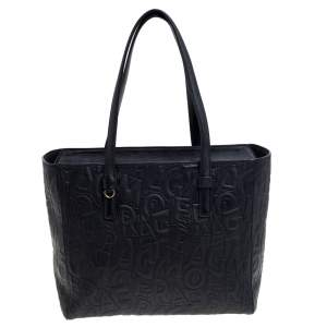 Salvatore Ferragamo Black Embossed Logo Leather Bonnie Shopper Tote