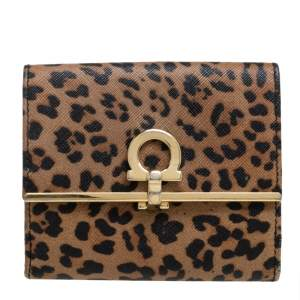 Salvatore Ferragamo Leopard Print Leather Gancio Bit Compact Wallet
