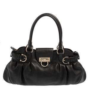Salvatore Ferragamo Black Leather Marisa Satchel