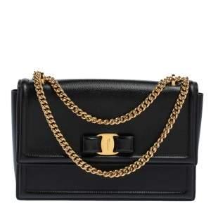 Salvatore Ferragamo Black Leather Vara Bow Chain Shoulder Bag