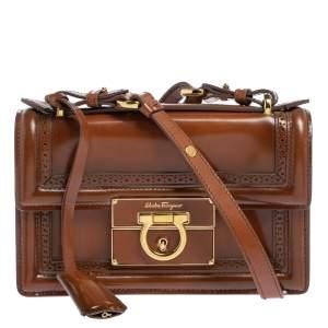 Salvatore Ferragamo Tan Brogue Glossy Leather Aileen Shoulder Bag