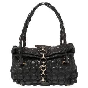 Salvatore Ferragamo Black Embossed Leather Fold Over Shoulder Bag