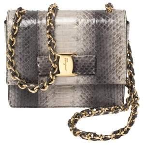 Salvatore Ferragamo Grey Python Mini Ginny Crossbody Bag