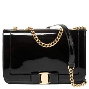 Salvatore Ferragamo Black Patent Leather Vara Shoulder Bag