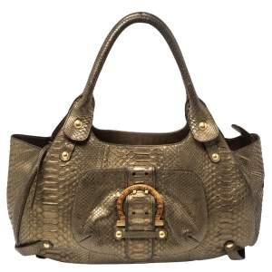 Salvatore Ferragamo Gold Python Shoulder Bag