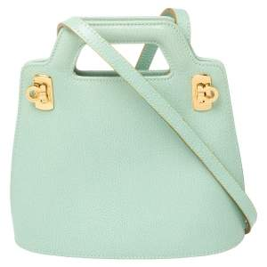 Salvatore Ferragamo Mint Green Leather Double Gancini Lock Tote