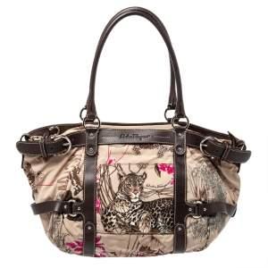 Salvatore Ferragamo Brown Fabric and Leather Fiera Print Shoulder Bag