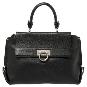 Salvatore Ferragamo Black Leather Medium Sofia Top Handle Bag