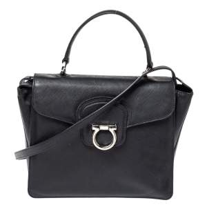 Salvatore Ferragamo Black Leather Katia Top Handle Bag
