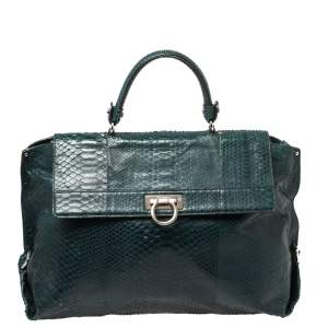 Salvatore Ferragamo Dark Teal Python Sofia Top Handle Bag
