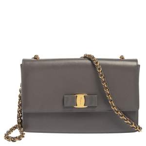 Salvatore Ferragamo Grey Saffiano Leather Ginny Shoulder Bag
