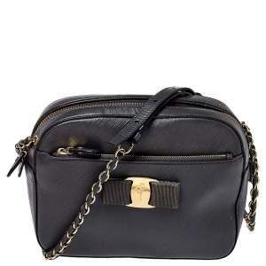Salvatore Ferragamo Dark Grey Leather Lydia Camera Bag