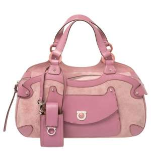 Salvatore Ferragamo Pink Suede and Leather Satchel