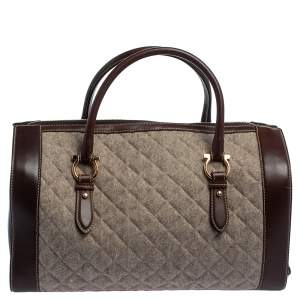 Salvatore Ferragamo Brown/Grey Quilted Wool and Leather Boston Duffle Bag